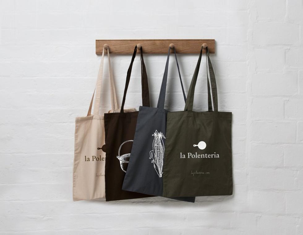 la Polenteria screenprinted tote bags